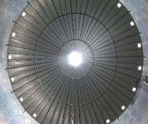 underside 60' diameter grain bin roof